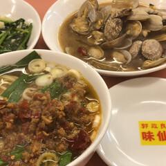 青菜炒め/台湾ラーメン 今日はど〜しても食べたくって😋名古屋の有…