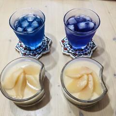 バタフライピー/桃のヨーグルトムース/大好物/桃/カルディ 先週お友達からいただいた💕大好物の桃🍑ち…