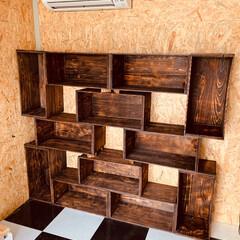 棚/わたしの手作り/ガレージ/DIY/フォロー大歓迎/ハンドメイド 工房に棚を作ってみました🛠 使っているの…