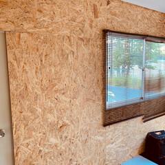 父の日プレゼント/ガレージハウス/わたしの手作り/インテリア/DIY MY工房にOSB合板で内壁を張ってみまし…(4枚目)