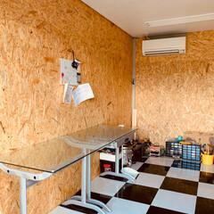 父の日プレゼント/ガレージハウス/わたしの手作り/インテリア/DIY MY工房にOSB合板で内壁を張ってみまし…(2枚目)
