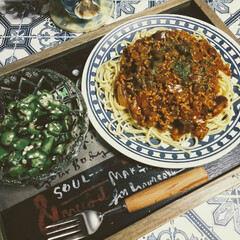 暮らし/オクラ/ナス/ミートソーススパゲッティ/晩ご飯/おうちごはん おうちごはん🍚  ナスのミートソーススパ…