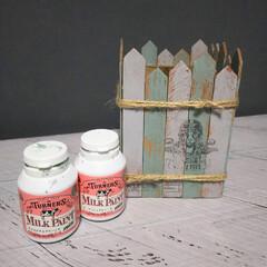 ターナー ミルクペイント ミニ アッシュグレー / ターナー | ターナー(その他塗料、塗装剤)を使ったクチコミ「ずっと放置してた100均のウッドBOXと…」(2枚目)