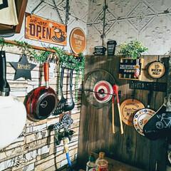カフェ風インテリア/男前インテリア/賃貸インテリア/リメイクシート/キッチンリメイク/キッチン キッチンの壁面にリメイクシート貼ってます…
