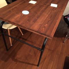 テーブル/住まい/暮らし/我が家のテーブル 旦那が作ったテーブルです。 馴染んできま…