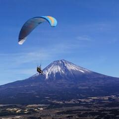 パラグライダー/アウトドア/正月/富士山/風景/おでかけ/... 朝霧高原でパラグライダーをしたときの写真…