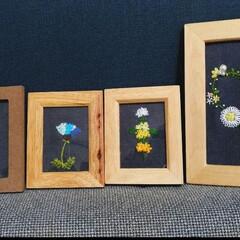 花/刺繍/フォトフレーム/写真立て/ひまわり/薔薇/... 飾る花刺繍フォトフレームです。 花は枯れ…