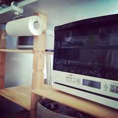 ワイングラスホルダー/グラス収納/DIY/キッチン/キッチン雑貨/100均/... ホームセンターで売っている溝ありの柱と棚…(2枚目)