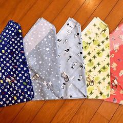 巾着袋/カラビナ/楽器柄の布/手拭い/あづま袋 お友達にもらった、ホルン(楽器柄📯)布で…(2枚目)