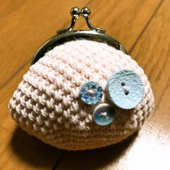 ボタン/プレゼント/がま口/手作り ご近所さんから手作りの がま口👛頂きまし…