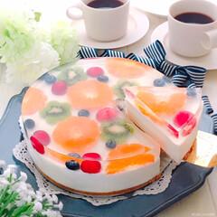 水玉レアチーズケーキ/フルーツレアチーズケーキ/レアチーズ/うちカフェ/おうちカフェ/至福の時間/... 水玉レアチーズケーキ♪