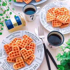おうちカフェ/アメリカンワッフル/ワッフル/ティータイム/おやつタイム/おやつ/... アメリカンワッフル♪