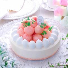 おうちカフェ/桃のレアチーズケーキ/ひんやりスイーツ/チーズケーキ/レアチーズ/レアチーズケーキ/... 「桃🍑のレアチーズケーキ♪」