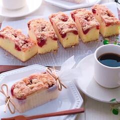 クランブルラズベリーケーキ/ラズベリーケーキ/クランブルケーキ/ケーキ作り/デザート/焼き菓子/... ラズベリークランブルケーキ♪