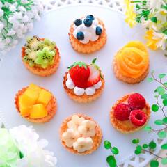 手作りスイーツ/フルーツカスタードパイ/カスタードパイ/パイ/デザート/お菓子作り/... ミニフルーツカスタードパイ♪