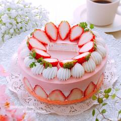 いちごスイーツ/ひんやりスイーツ/ムースケーキ/手作りお菓子/手作りスイーツ/レアチーズケーキ/... いちごムースとレアチーズケーキ♪