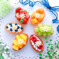 ホームメイド/お菓子作り/デザート/おうちカフェ/フルーツタルト/手作りスイーツ/... フルーツカスタードタルト♪