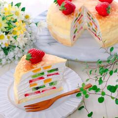 おうちカフェ/フルーツミルクレープ/ミルクレープ/スイーツ/手作りおやつ/デザート/... ミルクレープ♪(1枚目)