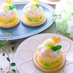 おうちカフェ/メロンケーキ/メロンスイーツ/ミニケーキ/ケーキ/うちカフェ/... メロン🍈のミニケーキ♪