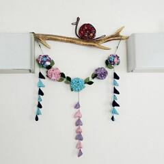 和雑貨/壁飾り/インテリア/ワイヤークラフト/かたつむり/ハンドメイド/... 先日のつまみ細工の紫陽花、壁飾りにしまし…