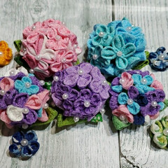 手作り/あじさい/紫陽花/ハンドメイド/和雑貨/つまみ細工/... つまみ細工で紫陽花を作りました🎵
