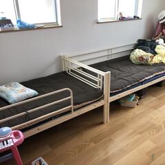 二段ベッド/子ども部屋/パイプベット/模様替え 二段ベッドだと寂しい…寝れない… と5歳…