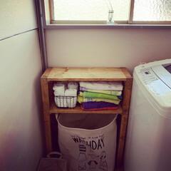 3段ラック/古い家/古い賃貸物件/賃貸でもあきらめない/賃貸DIY/築40年越え/... やっと脱衣所まわりとトイレが完成形かなー…