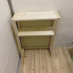 築40年/築30年以上/賃貸DIY/洗面所/脱衣所DIY/脱衣所収納/... 組み立て完了〜。 明日はやすりがけと塗装…