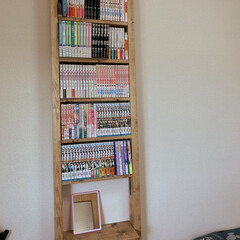 ラブリコ棚/ラブリコDIY/賃貸DIY/築40年/DIY/100均/... 今日は娘の本棚を作りました。 左側にはオ…