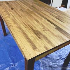 築30年以上/築40年/賃貸DIY/ダイニングテーブル/ダイニングテーブルDIY/DIY/... ダイニングテーブル完成ー!ヾ(@^▽^@…