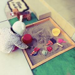 娘/子供/遊具/砂場/フォロー大歓迎/はじめてフォト投稿/... DIYで作った砂場で遊んでいる娘です。