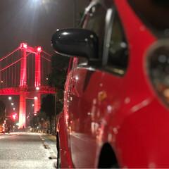 夜景/ライトアップ/フォロー大歓迎/風景 若戸大橋のライトアップから、高塔山からの…
