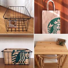 STARBUCKS/紙袋リメイク/スターバックスコーヒージャパン/スタバ/スタバ紙袋リメイク/スタバ紙袋/... ワイヤー バスケット+紙袋=プチ収納。テ…