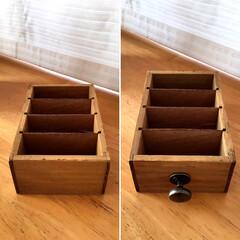 詳しくはBLOGで書いてます/簡単リメイク/プチリメイク/領収書/名刺ホルダー/カード収納/... セリアの木製仕切りケース+引き出し用つま…(3枚目)