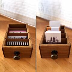 詳しくはBLOGで書いてます/簡単リメイク/プチリメイク/領収書/名刺ホルダー/カード収納/... セリアの木製仕切りケース+引き出し用つま…(2枚目)