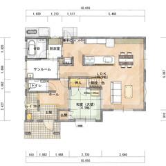 間取り/家づくり/マイホーム計画/新築一戸建て/新築住宅/住まい ・お客様が来た際、リビングを通らずに和室…