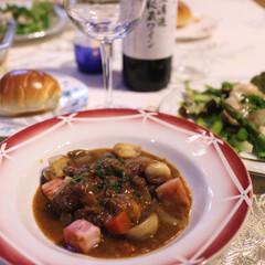 手作り/ホームパーティー/お家ビストロ/フレンチ/赤ワイン/牛肉/... 本格フレンチに挑戦‼️ 牛肉の赤ワイン煮…