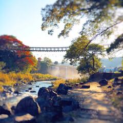 虹/絶景/吊り橋/旅の思い出/秋の景色/滝/... 大分県。 原尻の滝。 いつも、夏によく滝…