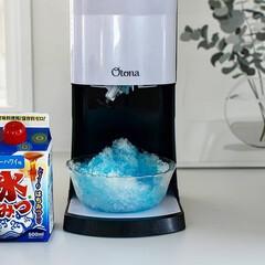 かき氷/夏/グルメ/フード/おうちごはん/キッチン 夏はやっぱりかき氷🍧 好きな味はブルーハ…