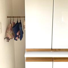収納/収納アイデア/隙間収納/収納グッズ/すき間収納/ティーコゼー/... 食器棚を設置した時にコンセントの配置確認…(1枚目)