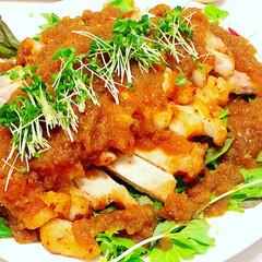 大皿料理/パーティー料理/料理/おうちカフェ/おうちごはん/グルメ オニオンソース、豚ステーキ(1枚目)