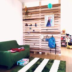 100均/セリア/ダイソー/節約/ディアウォール/DIY/... 子供部屋の仕切りをディアウォールで。