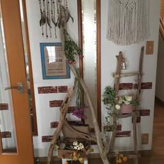 煉瓦壁風/鞄風/マクラメ編みタペストリー/ドライフラワー/ドリームキャッチャー/流木アレンジ/... 玄関の正面をアレンジしてみました。