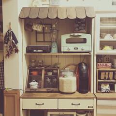 キッチン棚/フォロー大歓迎/ハンドメイド/DIY/キッチン/キッチン雑貨/... DIYした屋根付きキッチン棚☺︎ 引き出…