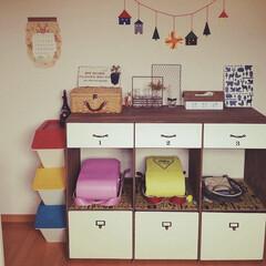 手作り/ランドセルラック/ハンドメイド/DIY/雑貨/100均/... ランドセルラックDIY☺︎ 上の扉には教…