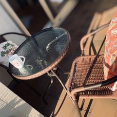 DIY/フォロー大歓迎/我が家のテーブル ベランダにテーブルと椅子を置いて ティー…