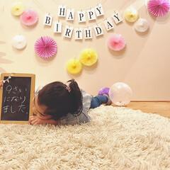 飾り/誕生日/ガーランド/フラッグ/フォロー大歓迎/雑貨/... 娘②誕生日でした♡  毎年恒例の飾り付け…