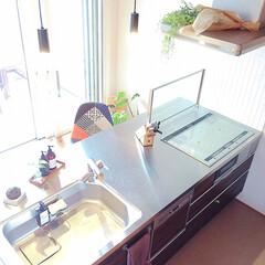 ステンレスキッチン/マイホーム/フォロー大歓迎/キッチン/キッチン雑貨/住まい/... 上から撮影したキッチン♡  ステンの天板…