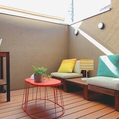ウッドデッキ/バルコニスト/バルコニー/アウトドアリビング/イケア/IKEA/... 我が家のバルコニー。  バルコニーを改造…