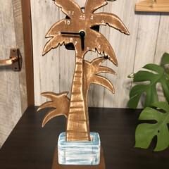 ハンドメイド/ヤシの木型時計/西海岸インテリア/メルカリ販売 seriaの時計自作キットを使ってパーム…